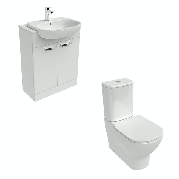 Ideal Standard close coupled toilet and white vanity unit suite 650mm