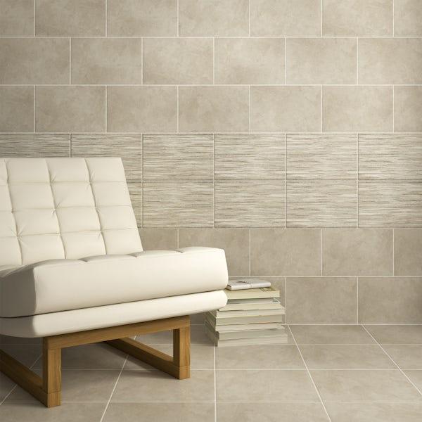 Madera rustic taupe flat stone effect matt wall tile 200mm x 300mm