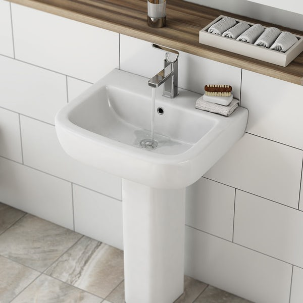 Mode Ellis back to wall toilet and full pedestal basin suite