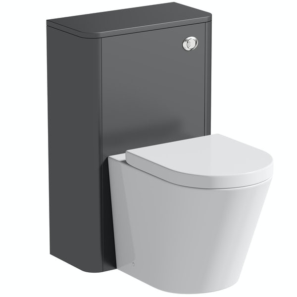 Mode Carter slate grey back to wall unit and contemporary toilet with soft close seat