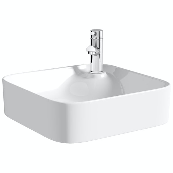 Mode Hughes square thin edge 1 tap hole basin 430mm with waste