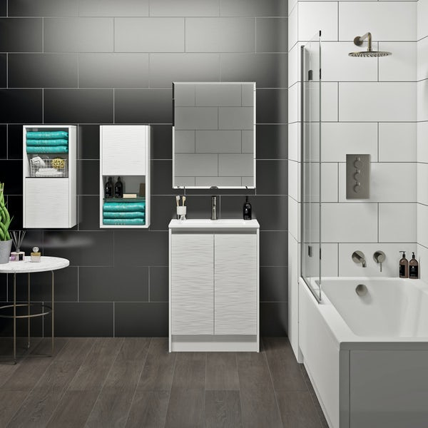 Mode Banks textured matt white vanity unit 600mm
