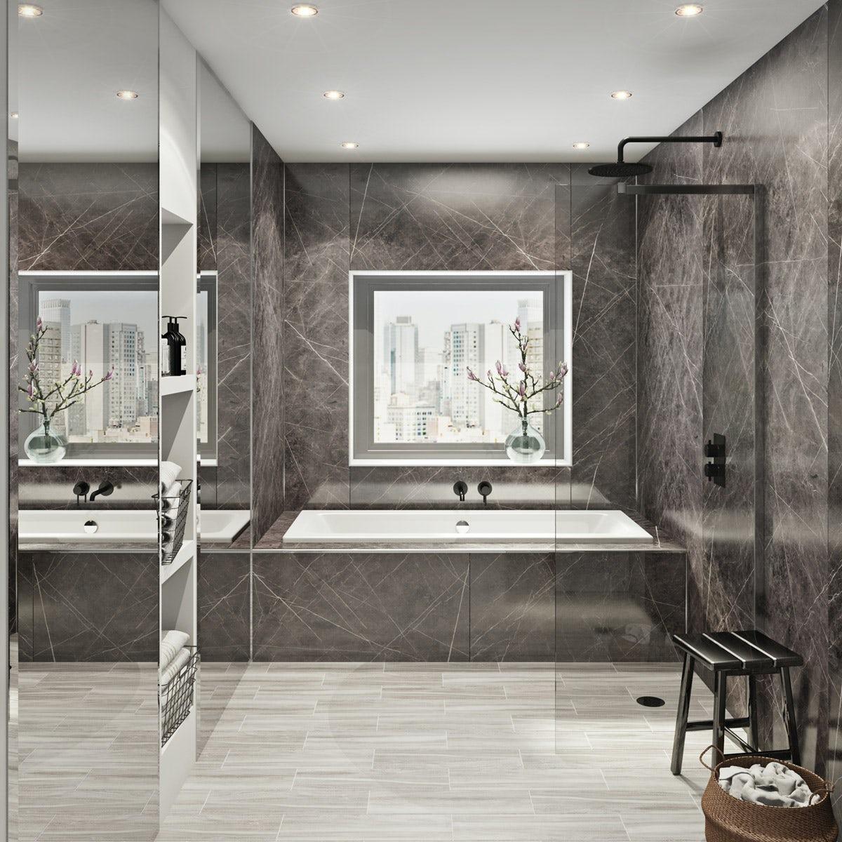 Multipanel Linda Barker Ferro Grafite unlipped shower wall panel 2400 x 1200