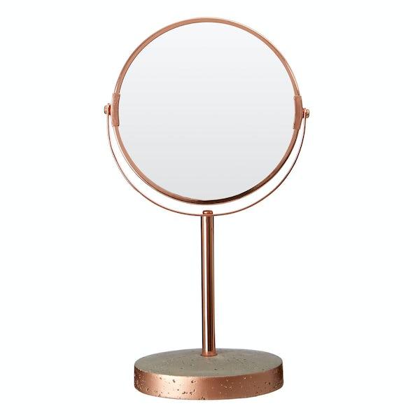 Neptune concrete and copper vanity mirror