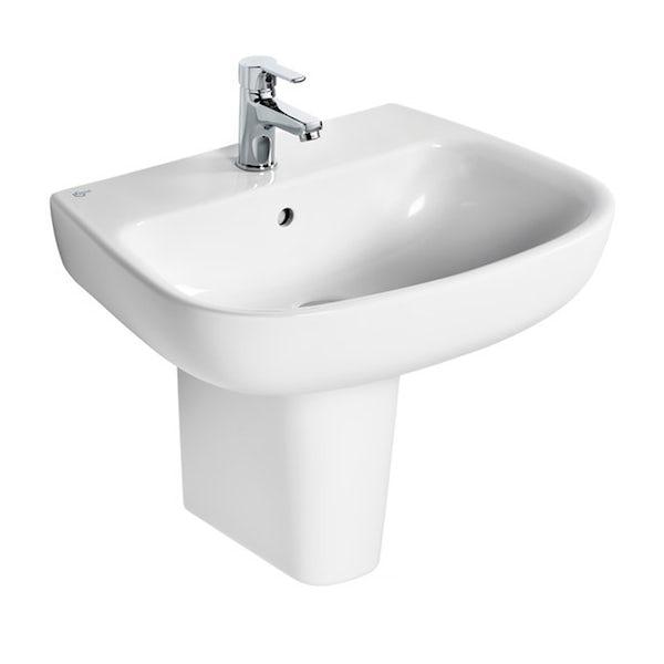 Ideal Standard Studio Echo right hand shower bath suite with semi pedestal basin 1700 x 800
