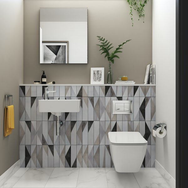 Ideal Standard Strada II wall hung cloakroom suite with left hand wall hung basin 450mm