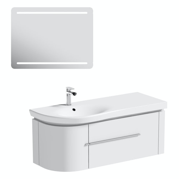 Mode Burton white wall hung vanity unit and basin 1200mm & LED mirror offer