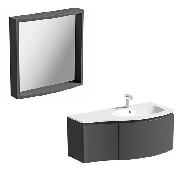 Mode Harrison slate right handed wall hung vanity unit 1000mm with mirror
