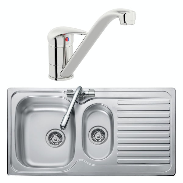 Leisure Linear reversible stainless steel 1.5 bowl kitchen sink and Schon single lever tap