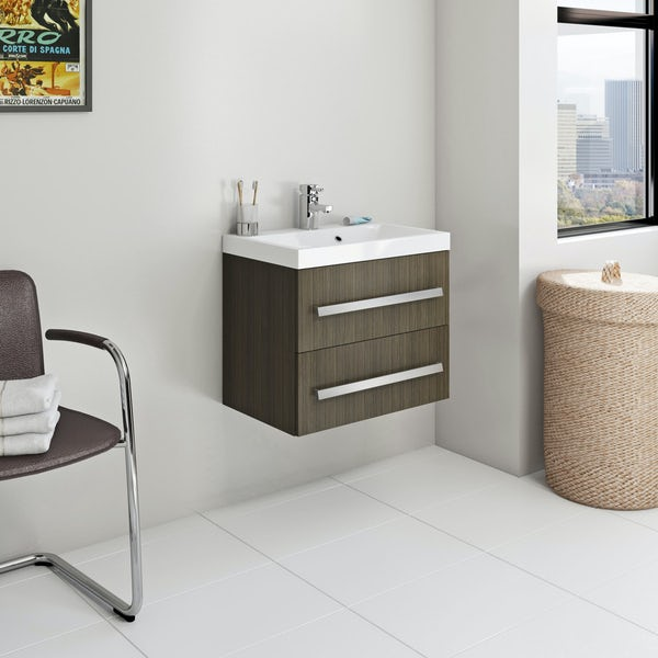 Orchard Wye walnut wall hung vanity unit and basin 600mm with tap