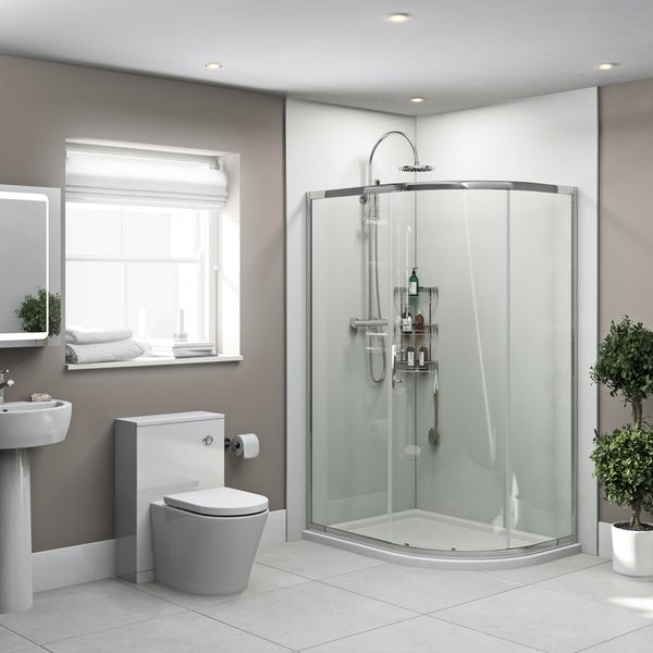Orchard Gloss White shower wall panel corner installation pack 1000 x 1000