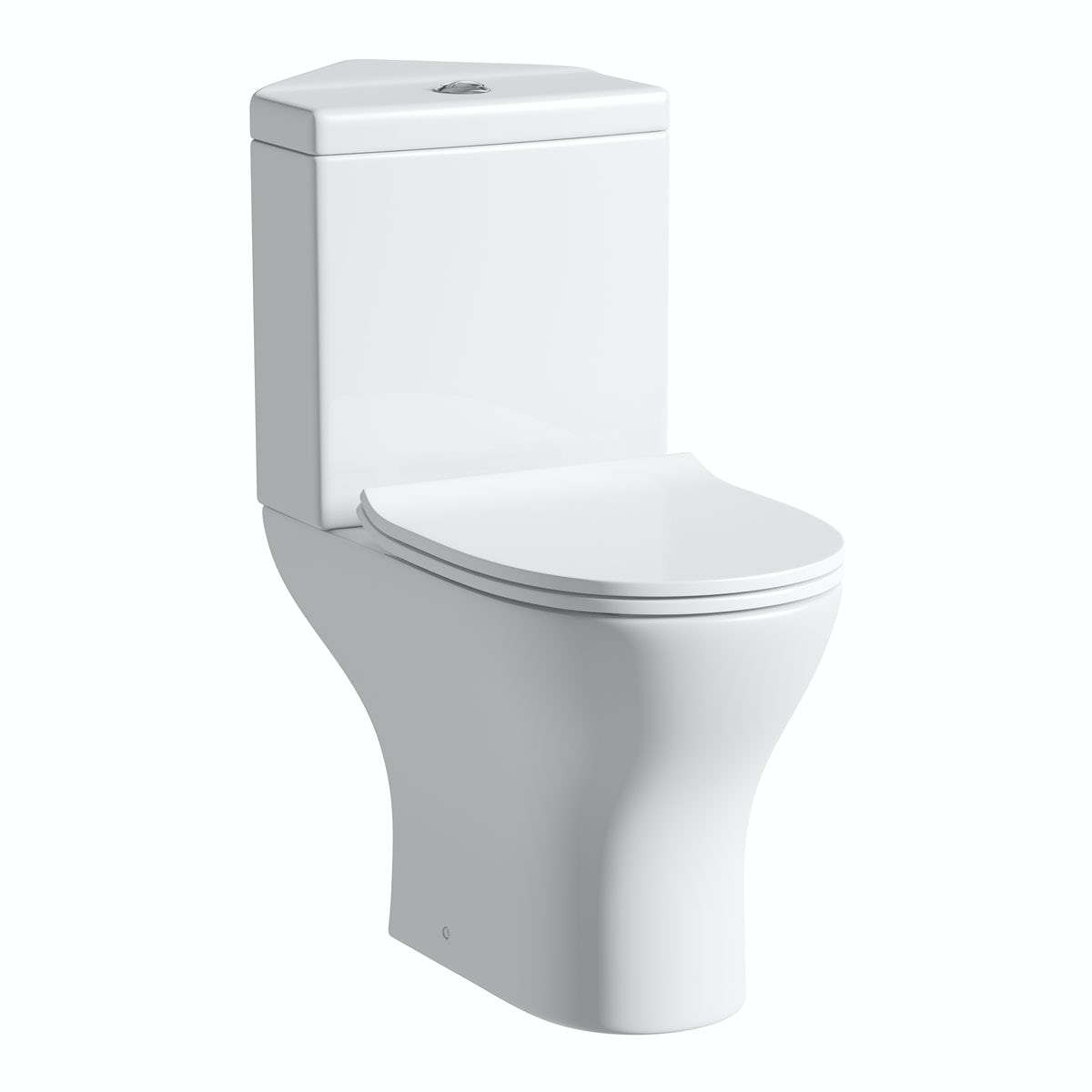 Orchard Derwent Round Compact Corner Close Coupled Toilet With Slimline Soft Close Toilet Seat