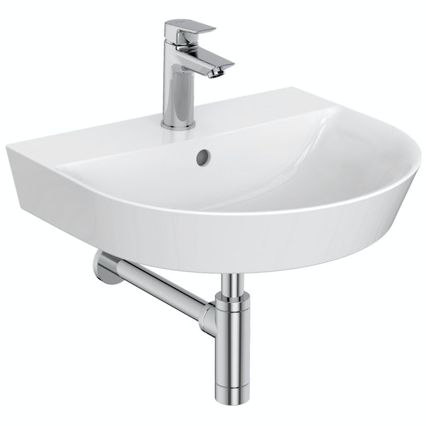 Ideal standard concept air arc 1 tap hole wall hung basin for Diagonal ideal standard