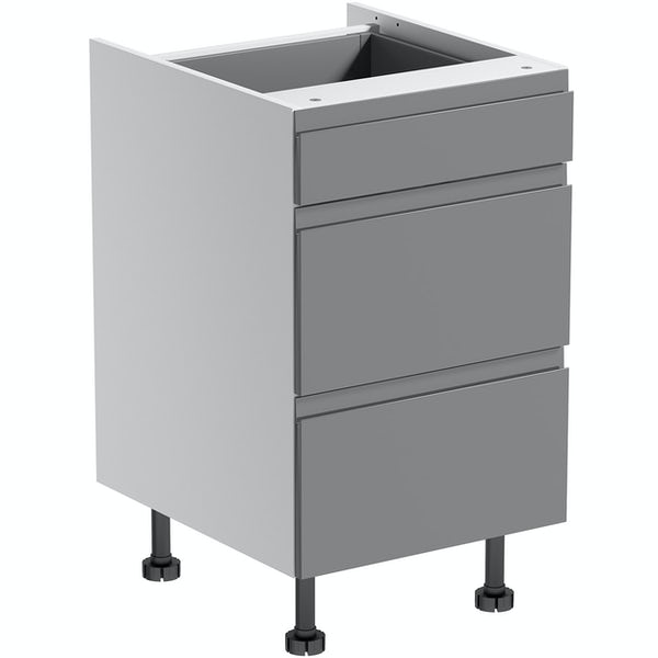 Schon Chicago mid grey slab 3 drawer unit