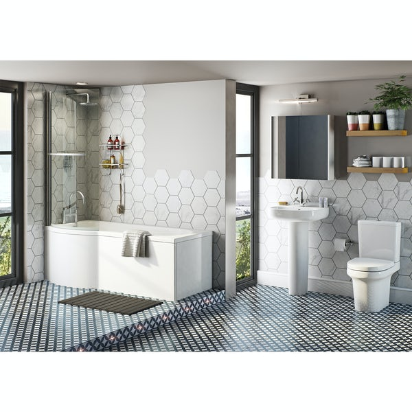 Mode Burton bathroom suite with left handed P shaped shower bath 1675 x 850