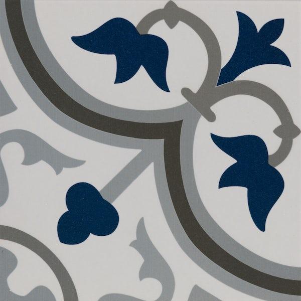 Girona blue traditional matt wall and floor tile 200mm x 200mm
