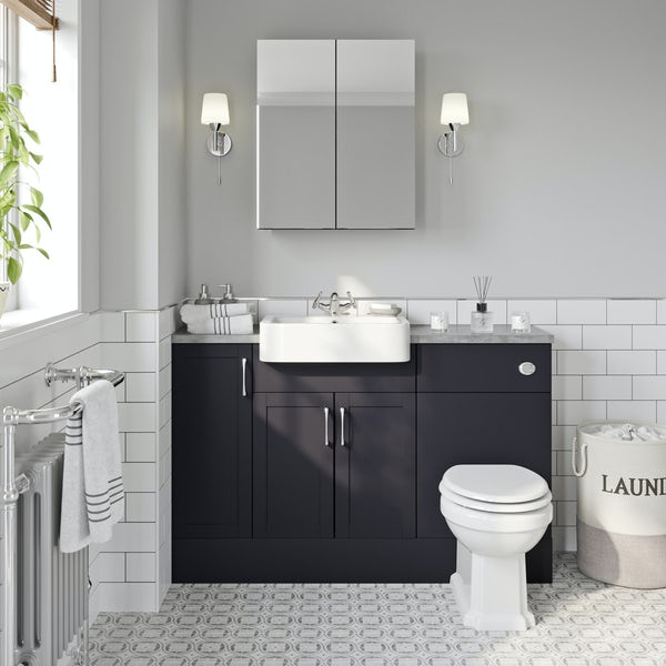 Reeves Newbury indigo small fitted furniture & mirror combination with mineral grey worktop