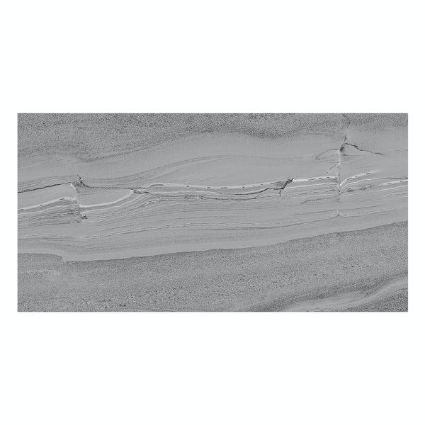 Cavalla dark grey stone effect flat matt wall and floor tile 300mm x 600mm