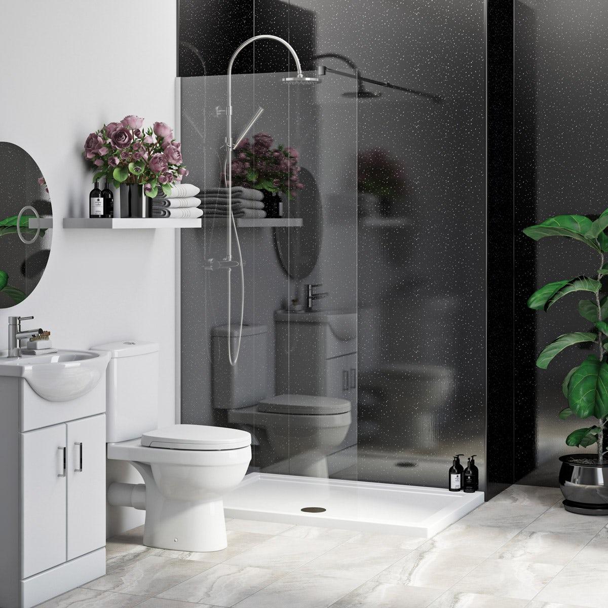 Multipanel Economy Moonlit Quartz shower wall 2 panel pack