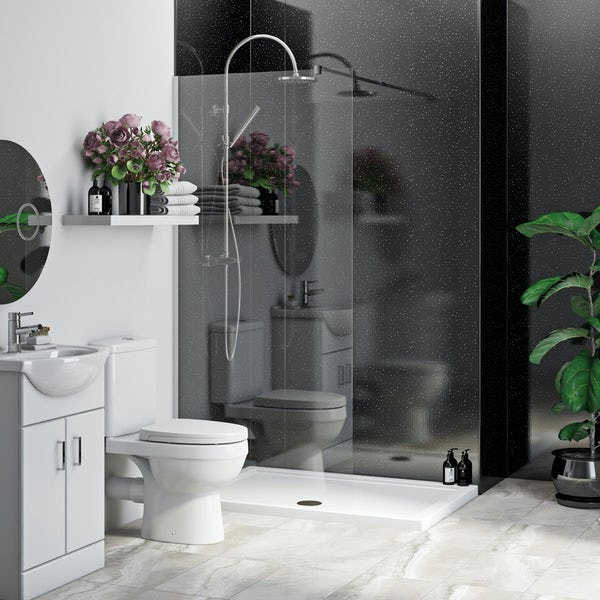 Multipanel Economy Moonlit Quartz shower wall 2 panel pack