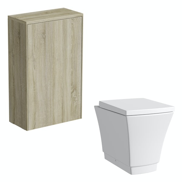Mode Austin oak back to wall unit and toilet with seat