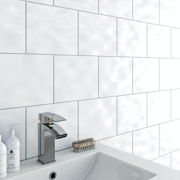 Clarity bumpy white gloss wall tile 200mm x 250mm