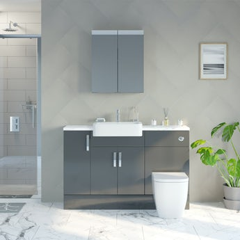 Reeves Nouvel gloss grey small fitted furniture & mirror combination with white marble worktop