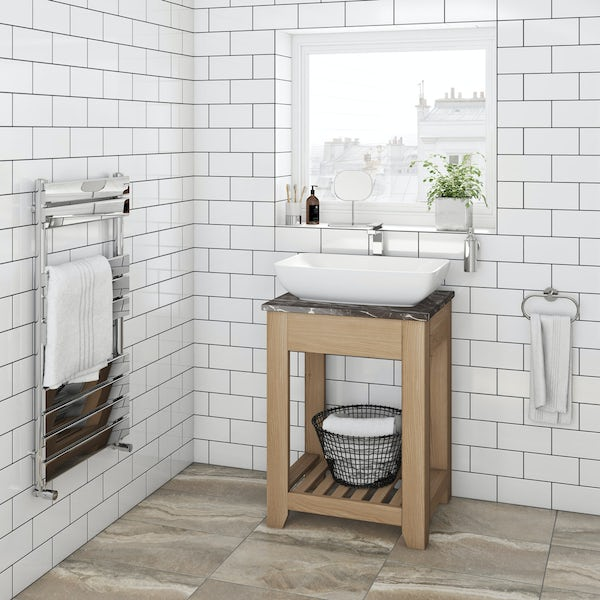 The Bath Co. Hoxton oak washstand with brown marble top 600mm