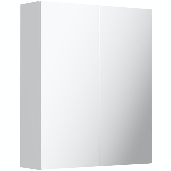 Mode Nouvel gloss white mirror cabinet 600mm