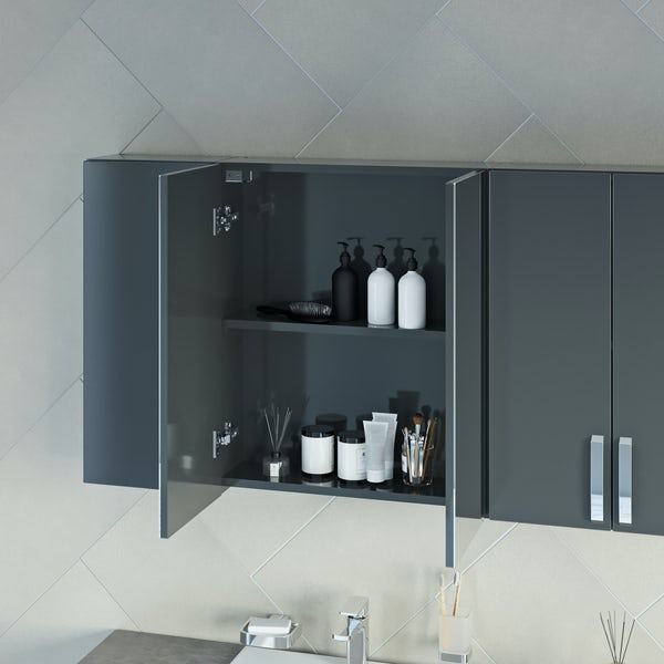 Mode Nouvel gloss grey small fitted furniture & mirror combination with beige worktop