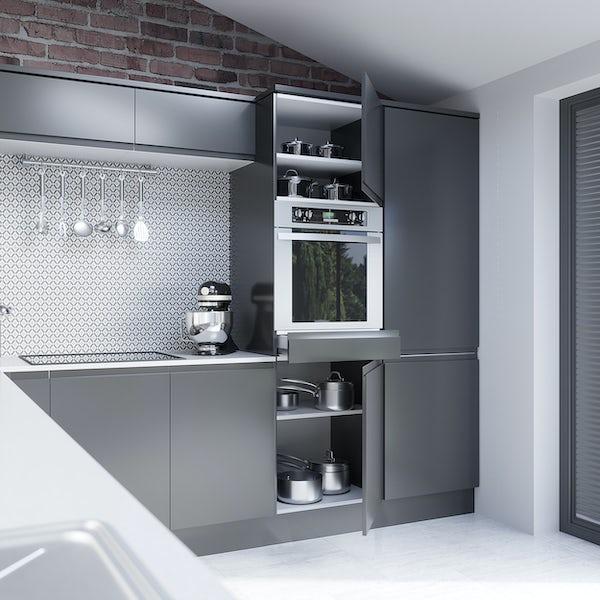 Schon Chicago mid grey handleless 600mm single oven housing unit