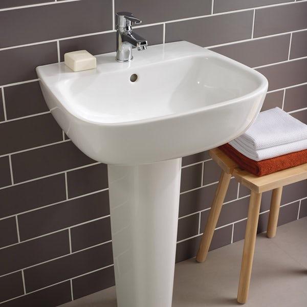 Ideal Standard Studio Echo 1 tap hole full pedestal basin 600mm