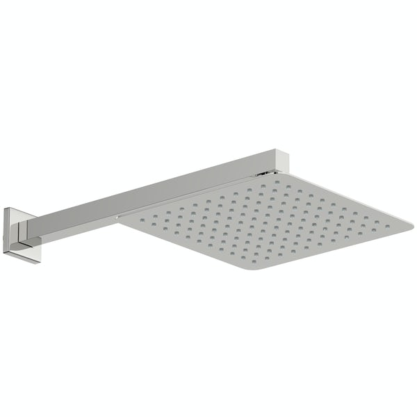 Mode Slim square stainless steel 250mm shower head and wall arm