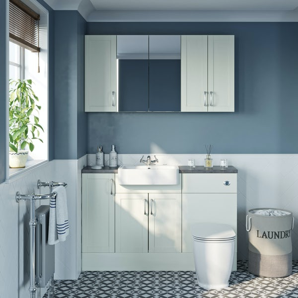 The Bath Co. Newbury white small fitted furniture & storage combination with grey worktop