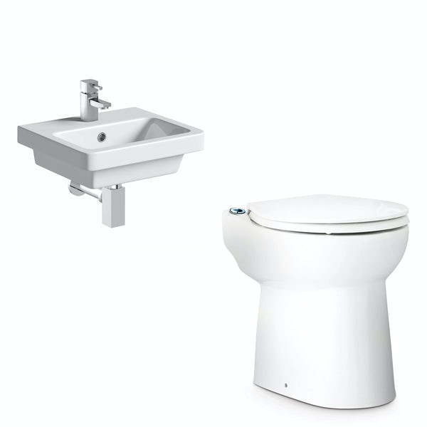 Saniflo Sanicompact cloakroom solution with cisternless back to wall toilet, macerator and small basin 400mm