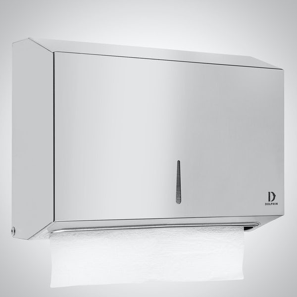 Dolphin commercial polished stainless steel mini paper towel dispenser
