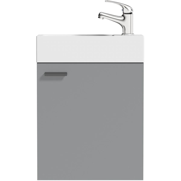 Clarity Compact white corner floorstanding vanity unit with black handle and ceramic basin 580mm