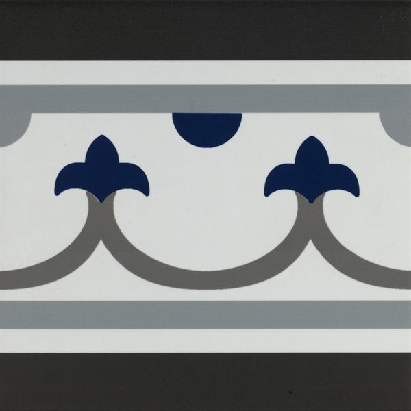 Girona straight border blue traditional matt wall and floor tile 200mm x 200mm
