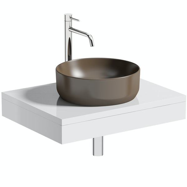 Artist Collection Upside Brown round basin with countertop shelf