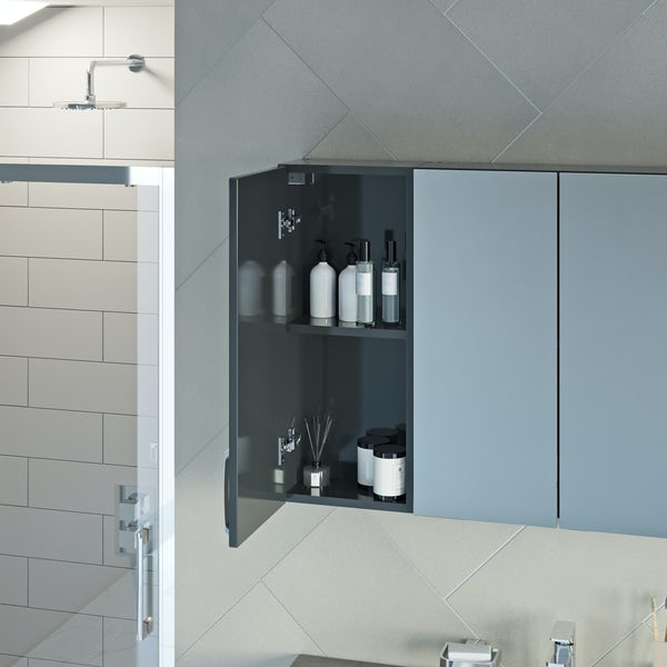 Mode Nouvel gloss grey small fitted furniture & storage combination with white marble worktop