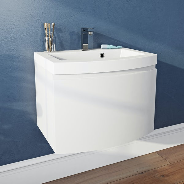 Mode Harrison white wall hung vanity unit and basin 600mm
