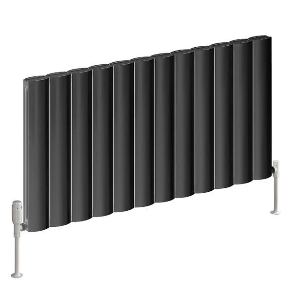 Reina Belva anthracite grey double horizontal aluminium designer radiator