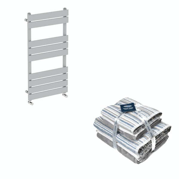 Orchard Wharfe stone grey heated towel rail 950x500 with Silentnight Zero twist grey 4 piece towel bale