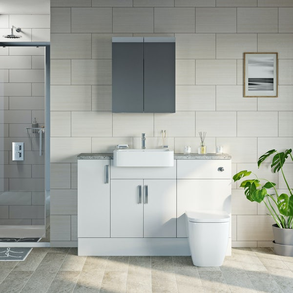 Mode Nouvel gloss white small fitted furniture & mirror combination with pebble grey worktop