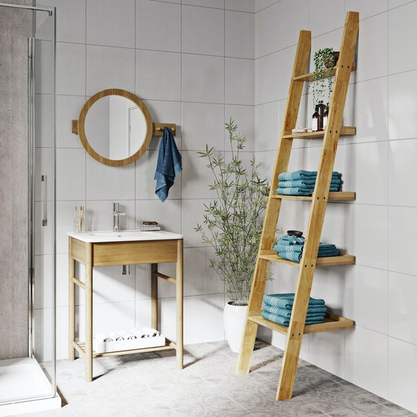 Mode South Bank natural wood furniture package with ladder shelves
