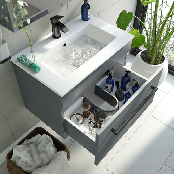 Orchard Derwent stone grey wall hung vanity unit with black handle and ceramic basin 600mm