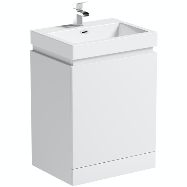 Mode Hardy white floorstanding vanity unit and basin 600mm
