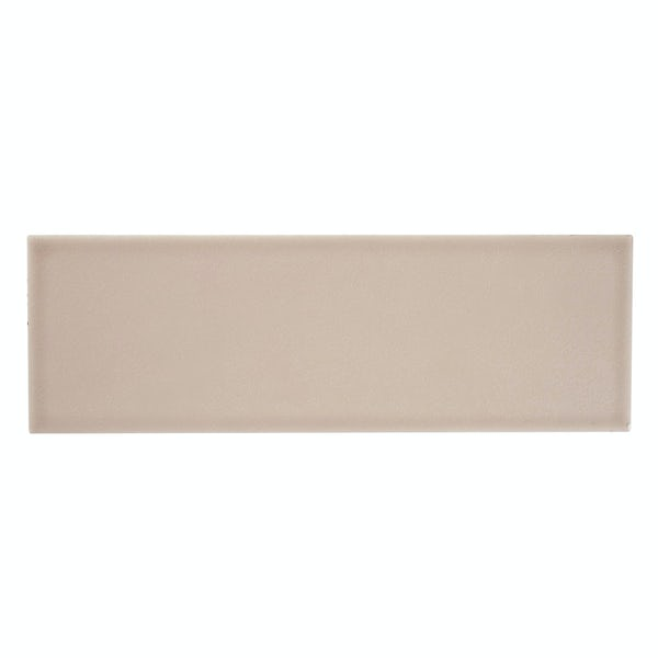 Clermont taupe flat matt wall tile 100mm x 300mm