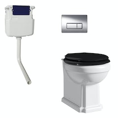 Main image for The Bath Co. Dulwich back to wall toilet with black soft close seat, concealed cistern and push plate