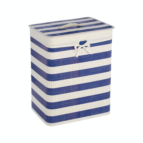 Accents Natural bamboo white and blue nautical rectangular laundry basket